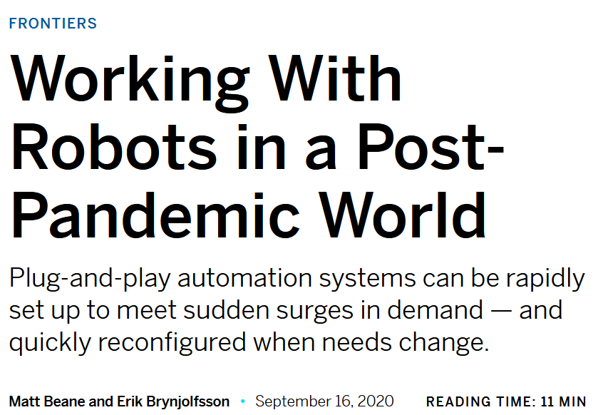 Working With Robots in a Post-Pandemic World