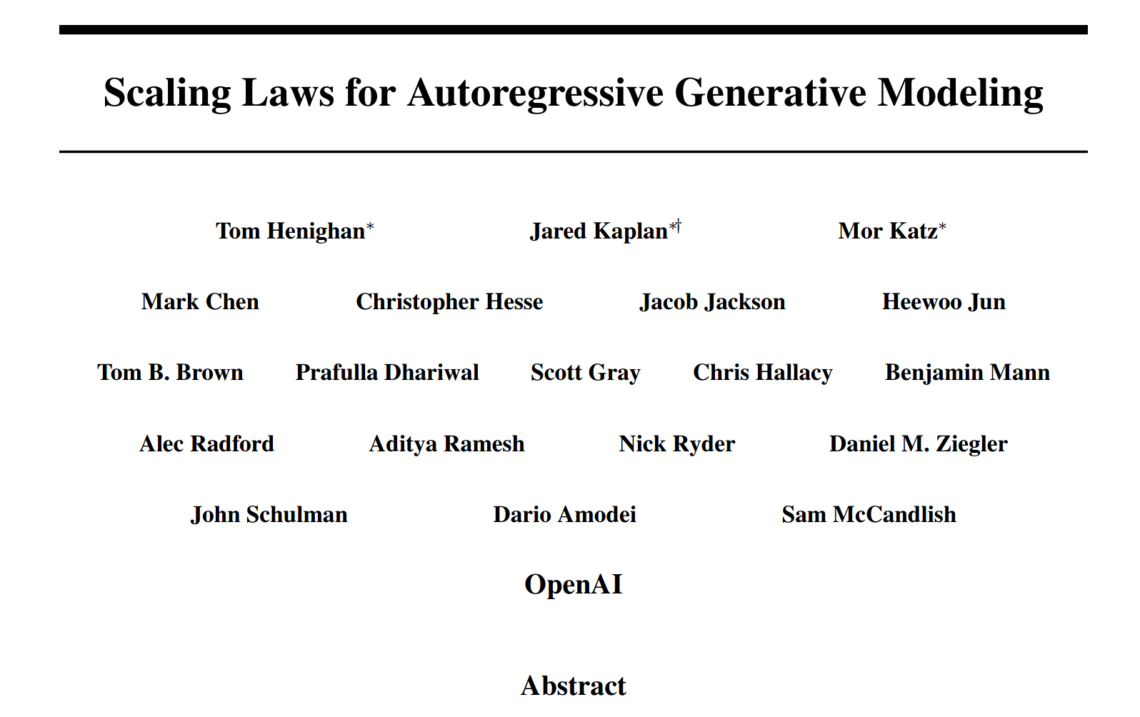 "OpenAI's ""Scaling Laws for Autoregressive Generative Modeling"""